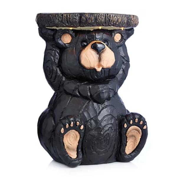 Solar powered bear stool or flower pot holder