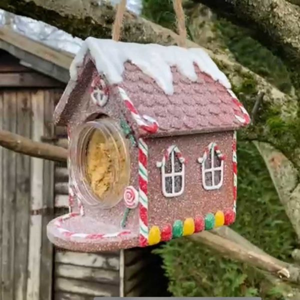 Christmas Gingerbread House for Nutpecker food jar bird food